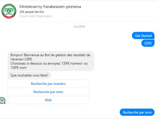 Requête sur le chatbot facebook du Ministère de l'Education Nationale. Photo : Fenosoa S.